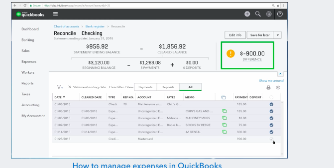 Screenshot of a quicbooks dashboard on a pc